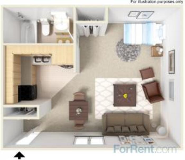 Floor Plan Showing a Studio Apartment at Davis Creek