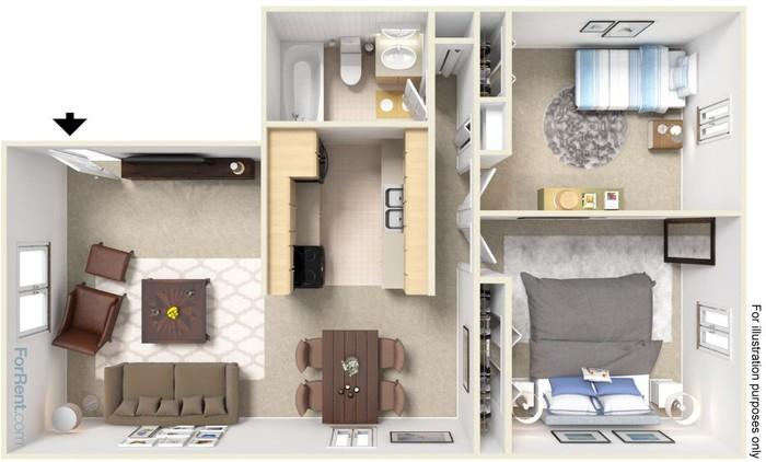 2 Bedroom Large Floor Plan